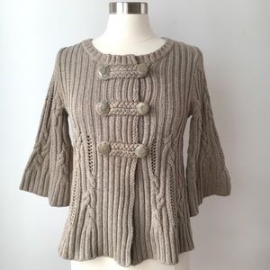 Heather B Cable Knit 3/4 Sleeve Cardigan Taupe